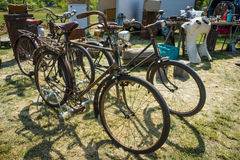 Old and rusty bikes at the flea market. Royalty Free Stock Image