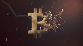 Old rusty bitcoin logo video 3d animation vector illustration