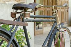 Old rusty black bicycle Royalty Free Stock Photo