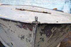Old rusty boat bow, scraped, vintage, colorful. Background fishing and fisher stock image