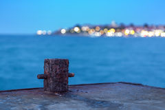 Old Rusty Bollard On The Dock At Night Stock Photography
