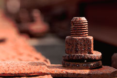 Old rusty bolt in a railway Stock Photos