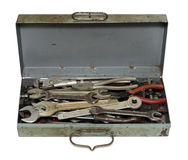 Old rusty box with tools. Isolated on white stock photo