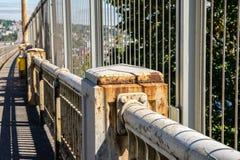 Old rusty bridge railing royalty free stock image