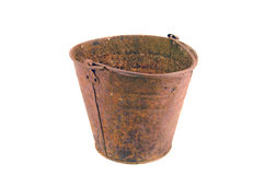 Old Rusty Bucket isolated on white Stock Photography