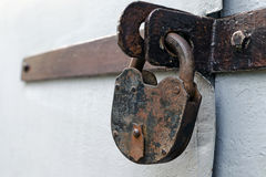 Free Old Rusty But Reliable Barn Door Lock - The Concept Of Prohibition Or Protection Royalty Free Stock Photos - 96405028