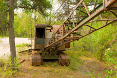 An old rusty cable crane in the northwest territories Royalty Free Stock Photo