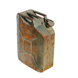 Old rusty canister, jerrycan isolated on white background Stock Photos