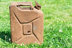 Old rusty canister. Place for your text. stock photos