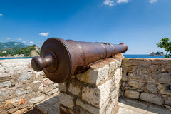 Old rusty cannon gun Stock Photos