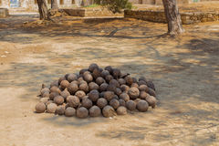 Old rusty cannonballs Royalty Free Stock Photo