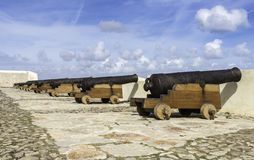 Old rusty cannons on walls at Sagres Portugal Stock Image