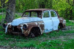 Old rusty car body. On a ground royalty free stock photos