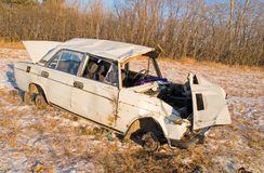 The old rusty car crashed in the accident royalty free stock photos