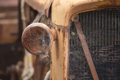 Old rusty car detail of wrecked broken vehicle Stock Photos