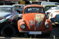 Old rusty car on parking lot. Exhibition of old timers Royalty Free Stock Photos