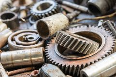 Old rusty car parts. And bearings stock image