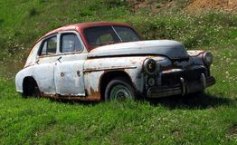 Old rusty car wreck. Image of old rusty vintage car. This is an old FSO Warszawa M20-57, 200, 201 or 202 made in Poland stock photos