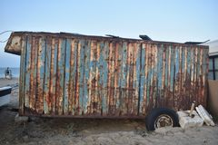 Old and rusty caravan royalty free stock photo