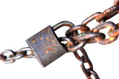 Old rusty chain with lock Stock Image