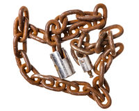 Old rusty chain with a lock Stock Photos