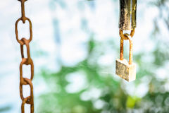 Old rusty chain and the lock Stock Images