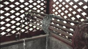 Old rusty chain of the village well. stock video footage