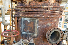 Old rusty chemical apparatus after repair Royalty Free Stock Photography