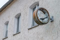 Old rusty clock with broken glass and dial.  royalty free stock image