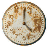 Old rusty Clock Face. Isolated on white royalty free stock photo