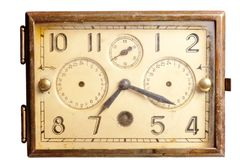 Old rusty clock of the last century Stock Image