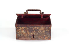 Old rusty coffer. On white background Royalty Free Stock Photos
