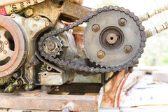 Old and rusty cogwheels with chain Royalty Free Stock Images