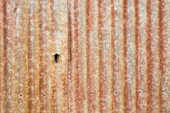 Old rusty corrugated iron wall Stock Images