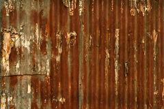 old rusty corrugated metal wall background Stock Images