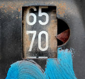 Old rusty counter on gasoline out damaged pump Royalty Free Stock Photos