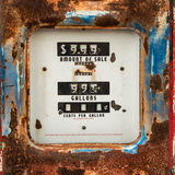 Old rusty counter on gasoline retro pump Stock Photo