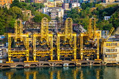 Old rusty cranes at Savona port Royalty Free Stock Photo