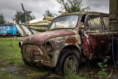 Old rusty crashed and abandoned car Stock Images