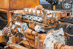 Old rusty 6 cylinder diesel engine Royalty Free Stock Photo