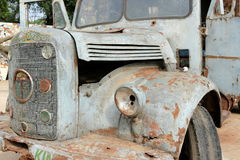 Old rusty damaged decaying pickup truck Stock Images