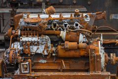 Old rusty diesel engine Stock Images