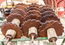 Old rusty disk plow Stock Photo