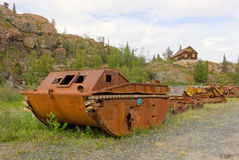 An old, rusty dredge at an abandoned gold mine Stock Image