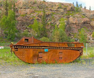 An old, rusty dredge at an abandoned gold mine Royalty Free Stock Photography