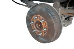 Old rusty drum brakes rear wheel. Stock Image