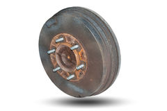 Old rusty drum brakes rear wheel. Royalty Free Stock Image