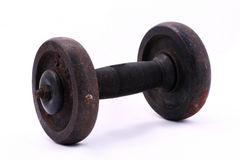 Old rusty dumbbell isolated on white background. Royalty Free Stock Photo