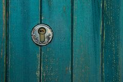 Old rusty and dusty keyhole wallpaper. Vintage keyhole on old wooden door background. Keyhole of old door. royalty free stock image
