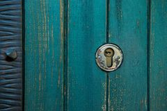 Old rusty and dusty keyhole wallpaper. Vintage keyhole on old wooden door background. Keyhole of old door. stock photos